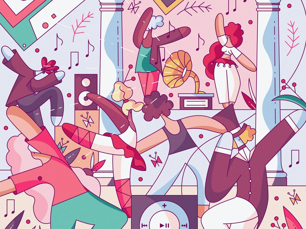 Dance characters vector movement illustration character design cute flat hiwow dancehall event disco ballet party music dance