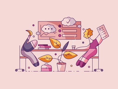 Interview review project discussion vector flat cute illustrations hiwow office work conversation talk intreview