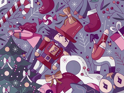 Christmas characters flat character design vector cute illustration candy sock december winter holiday hiwow christmas tree nutcracker xmas christmas
