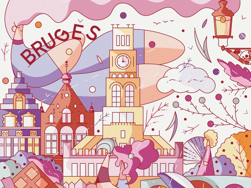 Bruges flanders characters flat character design vector cute illustration hiwow europe city tower architechture travel belgium bruges