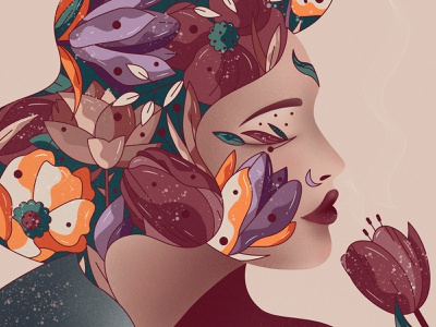 Tulip portrait art procreate vector character design illustration hiwow feminine woman girl tulip flower floral face portrait beauty
