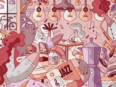 Music&Beans united kingdom vector flat cute character design illustration hiwow coffee music record restaurant food cafe music