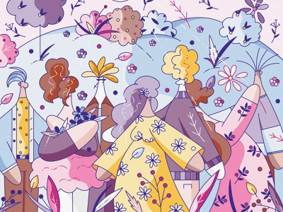 Spring Lookbook clothes flat cute vector character design illustration hiwow outfit weather fashion season spring