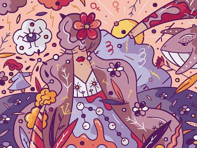 Women's Day spring procreate cute character design illustration hiwow girl feminine femme female woman