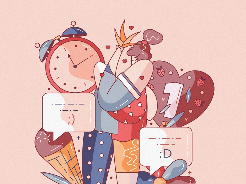 I love you flat cute character design illustration vector hiwow couple dating romance relationship date love anniversary