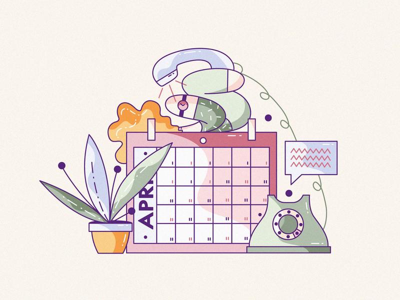 Dat Net cute flat character design illustration vector hiwow schedule interview phone wait calendar