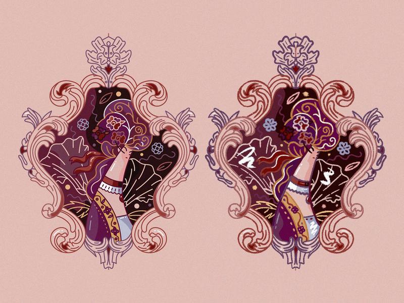 Baroque In Two renaissance cute fashion flat ornament vector character design illustration hiwow feminine girl romanticism baroque