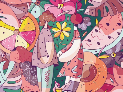 Juicy flat cute vector character design illustration hiwow flowers garden summer juicy