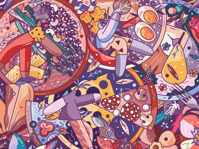 Hedonism flat cute characters character design vector hiwow illustration yummy eggs soup pizza bowl foodie food hedonism