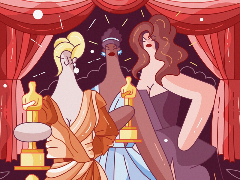 Academy Awards characters vector flat cute character design illustraion hiwow hollywood movies cinema actress meryl streep oscars academy awards