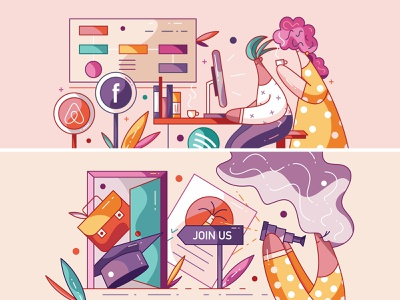 Are You a Company? / Join Our University Program flat cute vector illustration characters character design hiwow company student job intership education work university