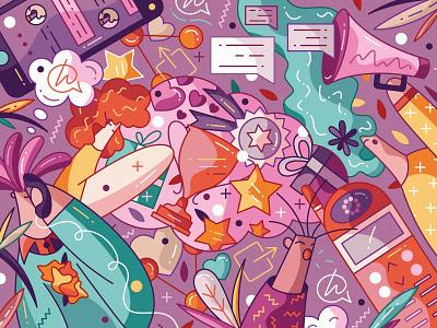 Hallo: Invite Friends cute flat characters character design vector hiwow illustration rewards referral invite friends social media share