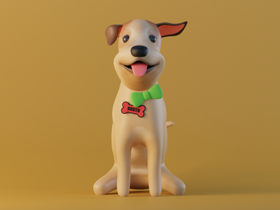 Brutu mutt yellow dog blender 3d modeling
