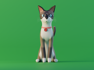 Bolinho 3d green cat blender 3d modeling