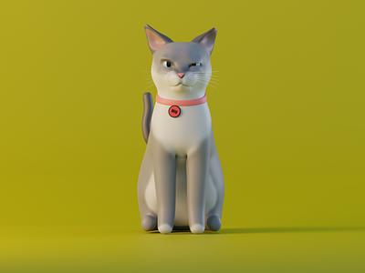 Miu yellow cat blender 3d modeling
