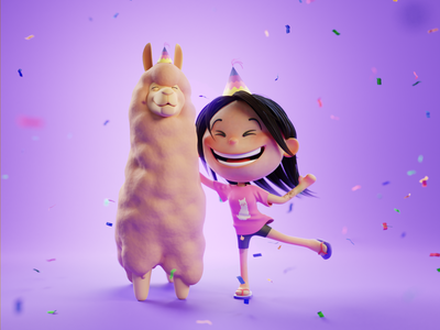 Lhama Party character party lhama purple blender 3d modeling