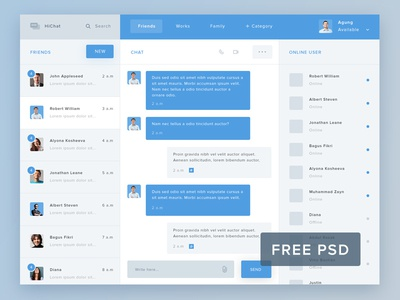 HiChat - Free PSD chat mail blue free psd online category form search new