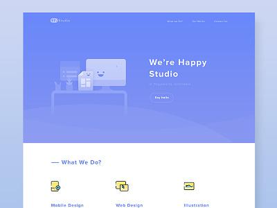 97.Studio Landing Page yellow blue freelance illustration modern flat agency landingpage web
