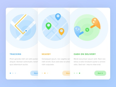 Onboarding - Courier App progress flat slider nearby tracking freelance courier map illustration blue ios onboarding