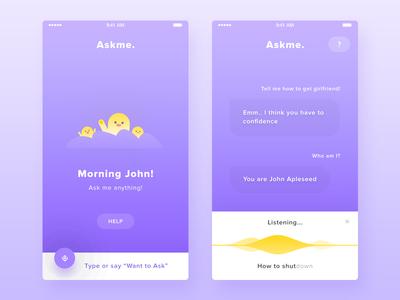 Askme. freelance voice modern flat illustration character purple app ask