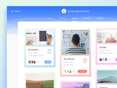 Group App. #Exploration dashboard freelance app webapp colorfull chat wave flat gradient manager group event