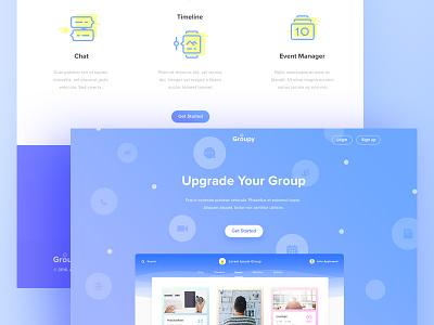Grooupy - Group App Landing Page business ux ui event website illustration professional freelance clean blue group landing