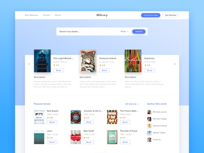 Mibrary - Online Library Concept business shadow ux ui landing page homepage rating freelance blue clean website book