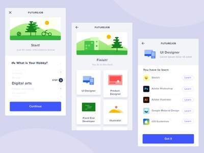 FutureJob - App Concept choices flat freelancer rounded icon blue green illustration android ios mobile app