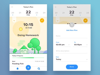 What Should I Do? date plan progress rounded modern blue illustration flat ios android mobile