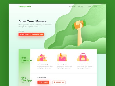 Money Manager Landing Page finance easy to use bank business ux ui illustration manager money green web landing page