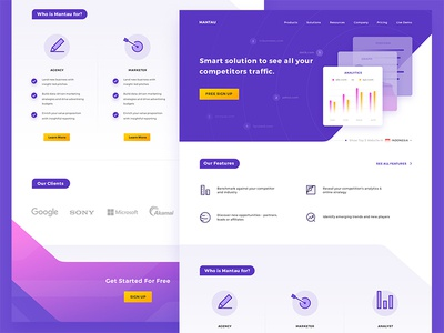 Web Analytics Landing Page clean ux ui proffesional business responsive performance purple company landing page graph analytics