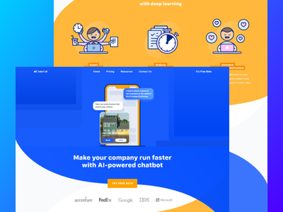 AI Chatbot Landing Page clean ux ui proffesional business modern saas product landing page header illustration gradient header company service analytics