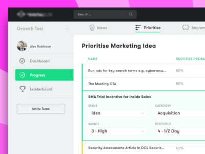 Prioritize Dashboard clean ux ui proffesional business modern marketing list icons green dashboard