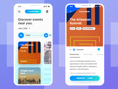 Discover Events Near You clean ux ui proffesional business modern outstanding blue iphone x app mobile event