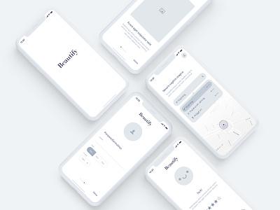 Hairdresser app – Wireframes iphone interface app mobile app concept sketch app grey ios ux ui wireframes