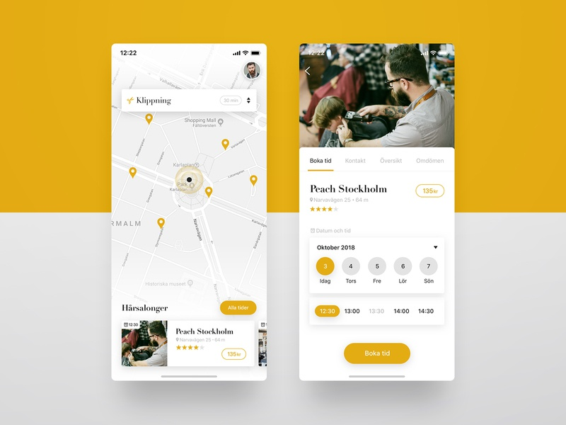 Hairdresser app – Concept barber map iphone design grey concept design sketch app ux user interface iphone app clean ui design ui mobile app app mobile minimal ios
