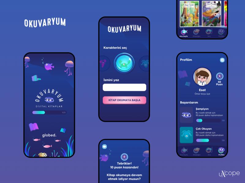 Okuvaryum Mobile App UX/UI Design ui design mobile kid books okuvaryum