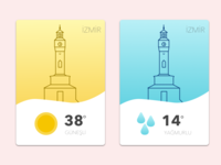 Weather Card & Icon Design (Izmir Clock Tower)