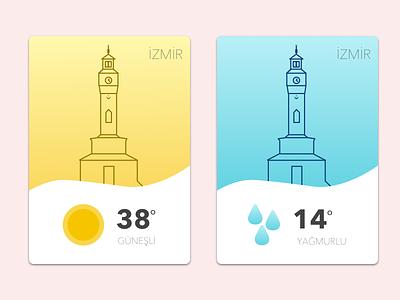 Weather Card & Icon Design (Izmir Clock Tower) tower clock smyrna izmir card weather illustrator sketch design icon
