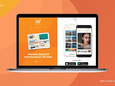 Wecation Landing & Mobile App mobile landing discover travel dating wecation