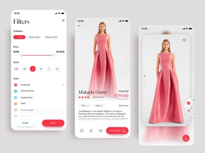 Fashion App design - Fia product design uiux modern ui ux nextmockup mobile app fashion fashion online ecommerce app filter fashion app