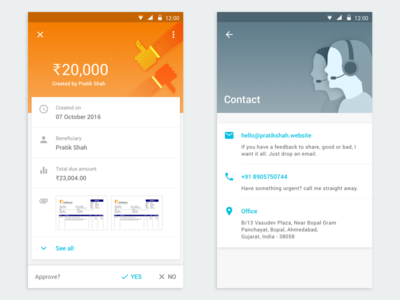 ☝🏼 First Dribbble Shot: Capital Float Android borrower app card layout contact first shot illustrations material design android ux