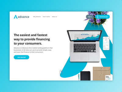 Advance - Homepage (WIP) web design ux design ux user experience ui responsive landing page flat clean b2c app finance