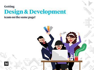 Getting Design and Development team nn the same page design sprint product management design process team illustration ui ux product team handoff development design