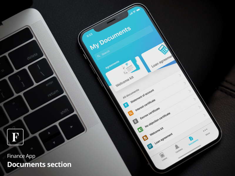 Documents screen for a Finance App by Pratik Shah on Dribbble