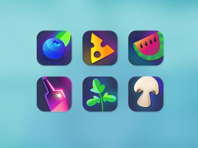 Supermarket iOS icons mushrooms watermelon alcohol parsley cheese blueberry supermarket icon ios