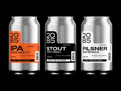 2085 craft beer packaging packaging design art direction branding clean technical tech laber craftbeer beer can beer