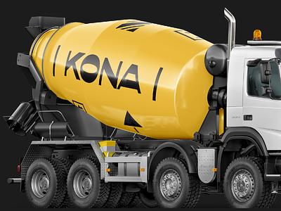 Concrete mixer yellow ukraine construction builder icon pictogram mixer concrete building branding print illustration logo flat