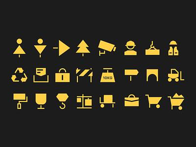 Construction pictograms stop tree navigation wc icon design icons construction pictogram building print illustration branding ukraine flat