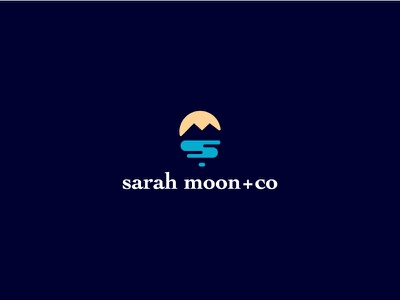 Sarah moon+Co sea yellow blue dark water logo moon